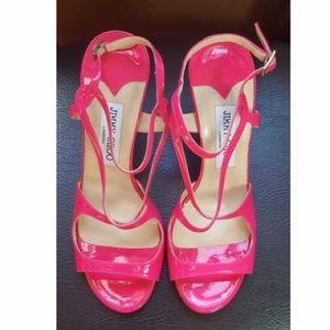 Jimmy Choo Hot pink patent leather sandals NWOT